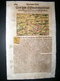 Munster C1570 Hand Col Woodcut Map. Strasburg. France, Germany
